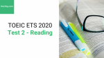 Sách Luyện thi ETS TOEIC 2020 - Test 2: Reading – Học Hay
