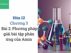 Hóa 12 - Chương 3 - Bài 2: Phương pháp giải bài tập phản ứng của Amin - HocHay