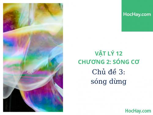 Vật Lý Lớp 12 - Chương 2: Sóng Cơ - Chủ đề 3: Sóng Dừng - HocHay