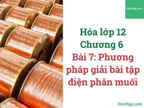 Hóa lớp 12 - Chương 5 - Bài 7: Phương pháp giải bài tập điện phân muối - HocHay